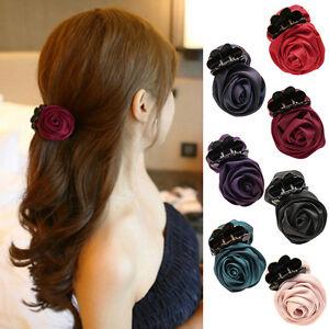 Women-Girl-Handmade-Barrette-Hair-Clip-Rose-Flower-Banana-Hair-Pin-Claw