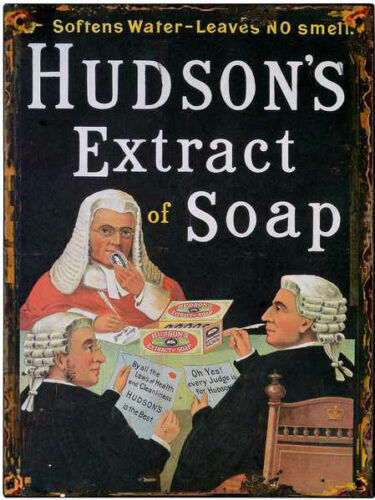 Hudsons Soap Metal Tin Plaque Wall Sign 40 x  30cm Victorian Vintage Style 9337