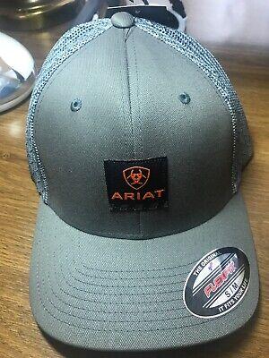Ariat Men/'s Grey Flexfit Ball Cap Rebar Plate Mesh A300002406