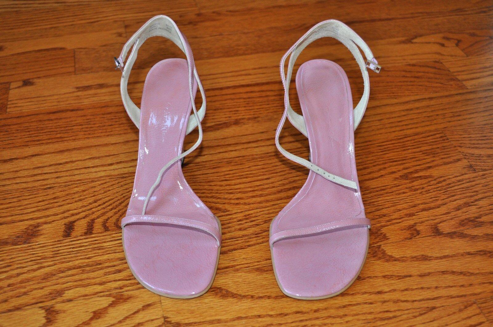 Damenschuhe CALVIN KLEIN Pink Leder Wedge Heel Sandales Größe 8.5 M NICE