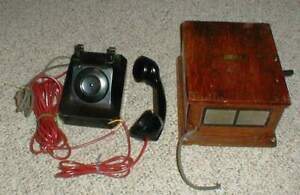Vintage-Stromberg-Carlson-Telephone-amp-Automatic-Electric-Magneto-Ringer-Wood-Box