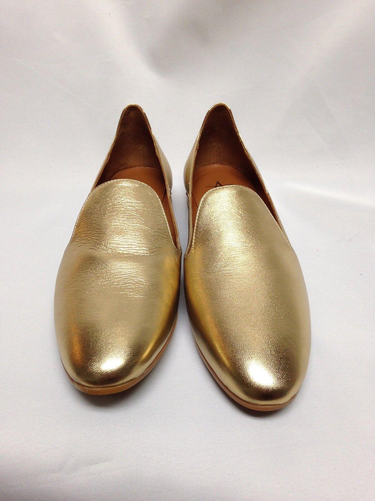 Aquatalia Emmaline oro oro oro metálico resistente a la intemperie plana, 5.5M, 7.5M, 10M 34L1159 Nuevo En Caja  clásico atemporal