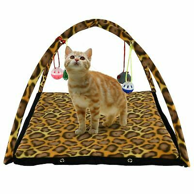 Pet Cat Kitten Activity Play Tent Mat Foldable Bed With Hanging Toys Ball Bells    eBay