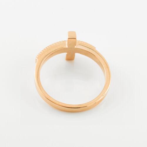 Bicolore Or Massif Sideways Cross Ring jaune et or rose