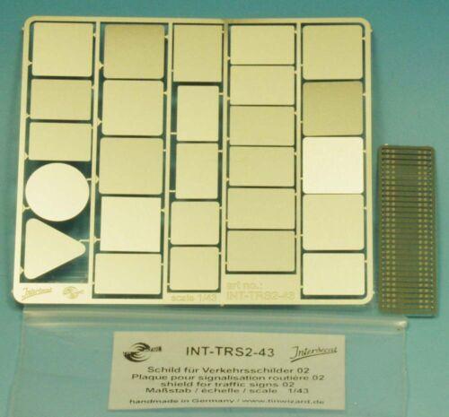 TRS2-43 Metall Schild 02 für Verkehrsschilder Deutschland  1//43 68x75 mm