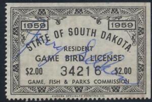 1959 South Dakota Resident Game Bird License Stamp