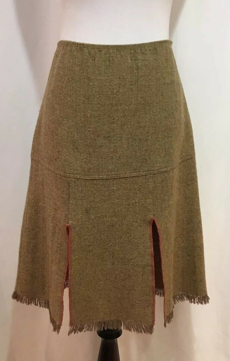 Anna Anna Sui Light Brown Tweed Paneled And Fringed Hem Midi Skirt, Size M