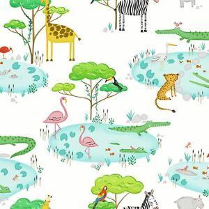 Over-The-Arc-En-Ciel-90930-Crocodile-Lac-Papier-Peint-Animal-Imprime-Enfants