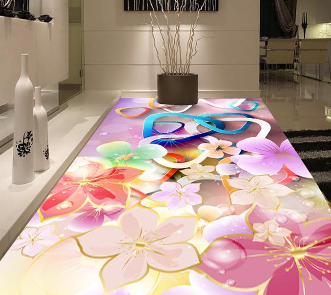 3D Flowers Buckles 57 Floor WallPaper Murals Wall Print 5D AJ WALLPAPER UK Lemon