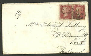 1D RED STARS X2 C6 LETTERED NI & MJ LONDON 14 INLAND NUMERALS 1855 TO CORK