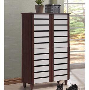 shoe storage solutions front entry cabinet tall 6 shelves 4 doors wood oak white ebay. Black Bedroom Furniture Sets. Home Design Ideas