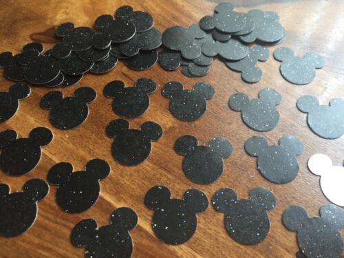 60 black glitter card Mickey Mouse party birthday table confetti Disney handmade