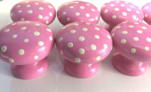 Cute Handpainted Pink /& White Polka Dot 40mm Pine Drawer Knobs x 1