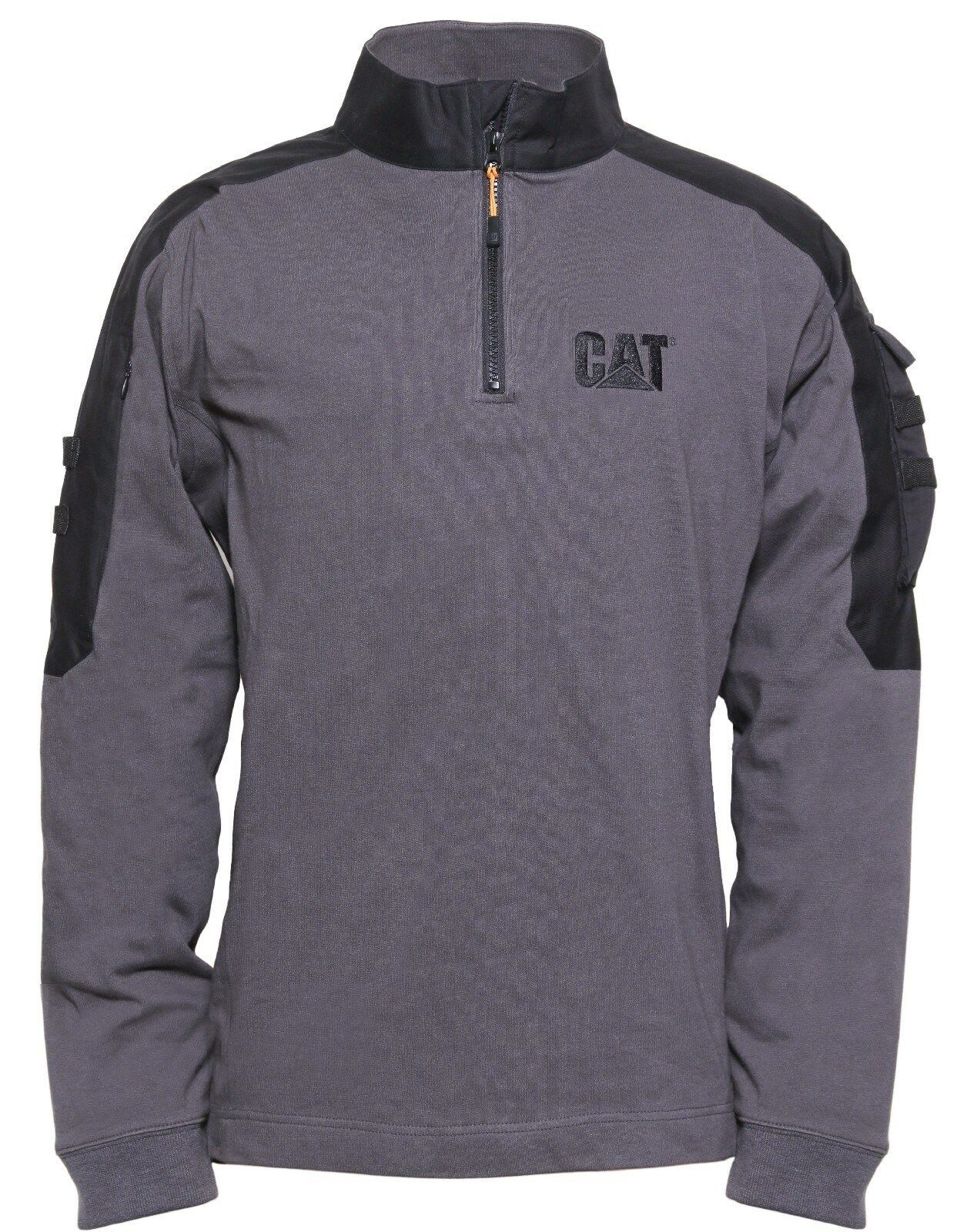 CAT Caterpillar Tactical Work Grau 1/4 Zip Workwear Sweat Shirt  Herren