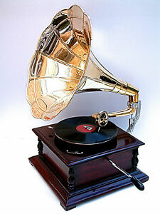 Replica-Gramophone-Player-78-rpm-vinyl-phonograph-Brass-Horn-HMV-Vintage-Wind-up