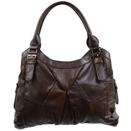 sac cuir véritable clair noir brun en brun brun foncé fauve bandoulière à foncé beige femme pour Grand d4BqHUnAd