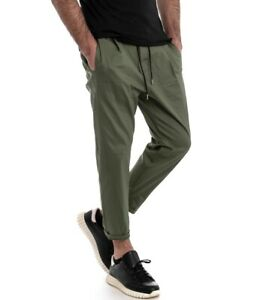 Pantalone-Uomo-Panta-Tuta-Cavallo-Basso-Elastico-Tinta-Unita-Verde-GIOSAL