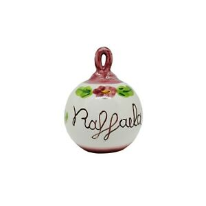 Palla-Pallina-Albero-di-Natale-Ceramica-Vietri-Rosa-con-Fiori-Personalizzabile