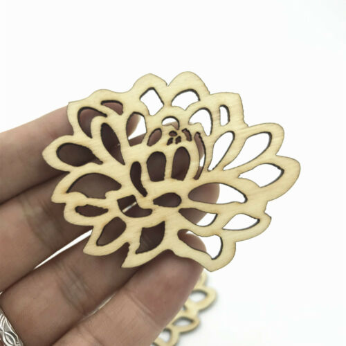 Wood color Hollow Flowers shape Wooden crafts decoration scrapbooking 67mm