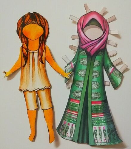 Paper Outfits Fulla Doll Crafts DIY Cardboard Muslim Doll 14 Different Outfits