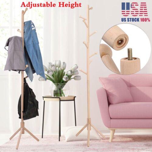 8 Hooks Coat Rack Tree Stand Clothes Holder Hat Hanger Hall Stand Umbrella Wood