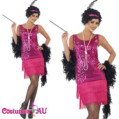 Ladies 1920s Roaring 20s Flapper Costume Charleston Gatsby Chicago Fancy Dress