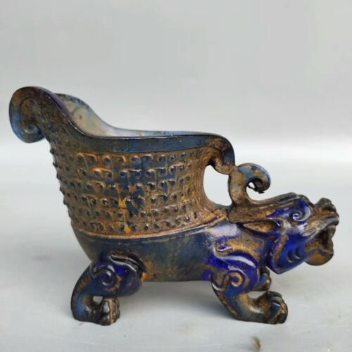 Collect China Colored glaze gilt(Liuli)carved God beast Chihu tiger cup wine cup