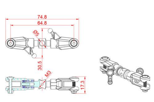 Tarot Tail Rotor Holder Set Orange For Tarot 550 600 RC Helicopter MK6055B