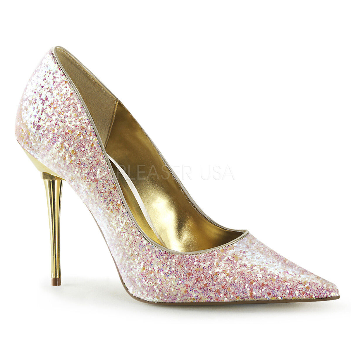Appeal Rose Glitter Pointy Toe 4  Metal High Stiletto Heels chaussures Pump 5-16