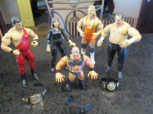 WWE-Wresting-Lot-4-Jakks-Pacific-8-034-Figures-1992-The-Warlord-Championship-Belts