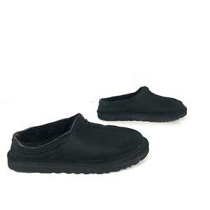 0337f82a068 Details about UGG Australia size 12.5 NEUMAN Black Suede Sheepskin Slippers  Men's #3234 slides