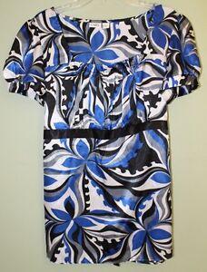Cato-Women-039-s-Short-Sleeve-Tie-Back-Blouse-Top-XL-Blue-Black-White-Top-Shirt