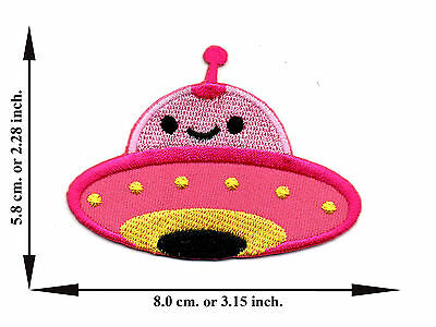 Pink UFO Alien Flying Space Size L Applique Iron on Patch Sew For T-shirt Jeans