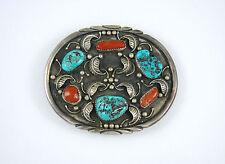 Vintage Navajo Sterling Silver Turquoise Coral Belt Buckle Signed