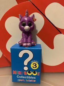 Mini Boo Figures Series 3 AMETHYST the Purple Unicorn TY Beanie Boos 2 inch