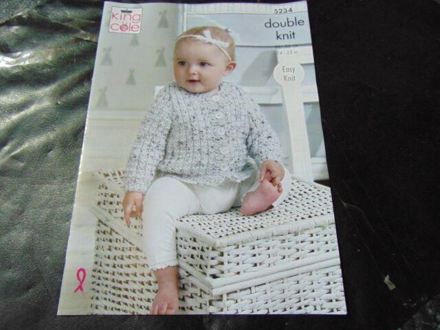 1934c48b4 King Cole DK Knitting Pattern 5234 Easy Knit Sweater Cardigan ...