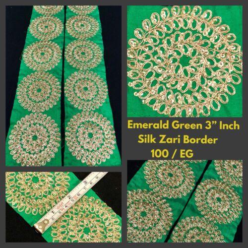 1 Yard Silk Green Indian Saree Border SewOn Sequins Zari Embroidery 7.5cm Trims