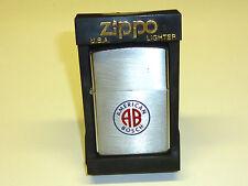 "VINTAGE ZIPPO LIGHTER - CHROME BRUSHED W. MOTIVE ""AMERICAN BOSCH"" - 1978 -RARE"