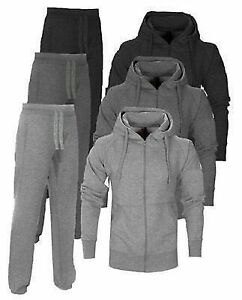 Mens-Jogging-Jog-Suit-hooded-Fleece-Full-TrackSuit-jkt-pants-S-XXL