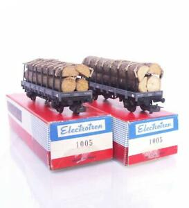 BOXED-ELECTROTREN-1005-HO-SPANISH-RENFE-RN-STAKE-WAGONS-WITH-TIMBER-LOADS