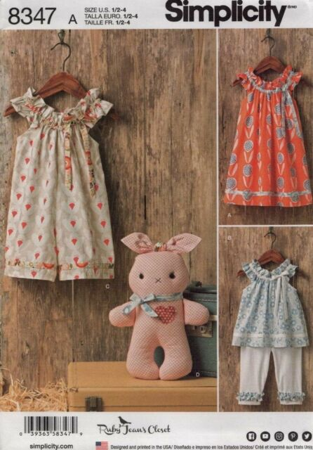 Simplicity 8347 Dress Top Capris Stuffed Bunny By Spotlight Ebay