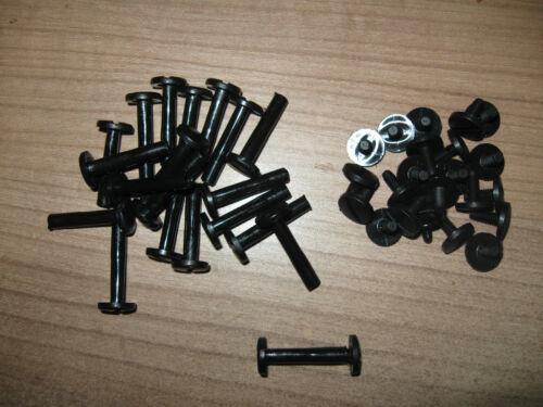 20 Stück Buchschrauben Kunstsoff Plastik 25 mm Füllhöhe Schaft 5mm schwarz