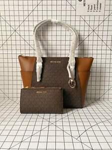 Michael Kors Charlotte Top Zip Tote Brown Signature MK Shoulder Bag&Wallet Set