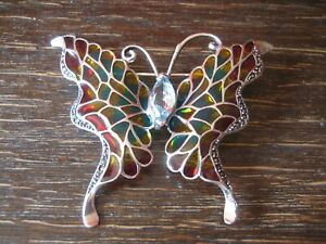 prachtvolle-Schmetterling-Brosche-925er-Silber-Emaille-Butterfly-enamel-Brooch