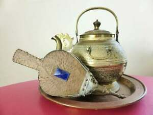 Antique-Engraved-Brass-Kettle-Hammered-Copper-Fire-Bellows-and-Brass-Tray