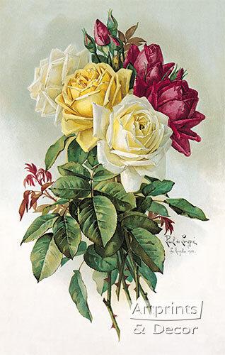 Art Print of Vintage Art Royal Roses by Paul de Longpre