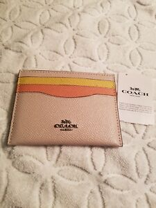 innovative design 99255 d1653 Details about Coach Leather Colorblock Card Case NWT $50