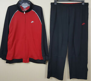 NIKE-BASKETBALL-TRACK-SUIT-JACKET-PANTS-RED-BLACK-BRED-RARE-SIZE-2XL-3XL