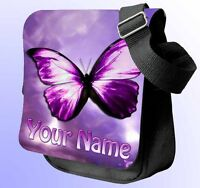 PURPLE BUTTERFLY PERSONALISED SHOULDER / HAND BAG *Choice of 3 colour's* GIFT !!