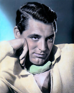 "CARY GRANT HOLLYWOOD MOVIE STAR ACTOR bb 8x10"" HAND COLOR TINTED PHOTOGRAPH"